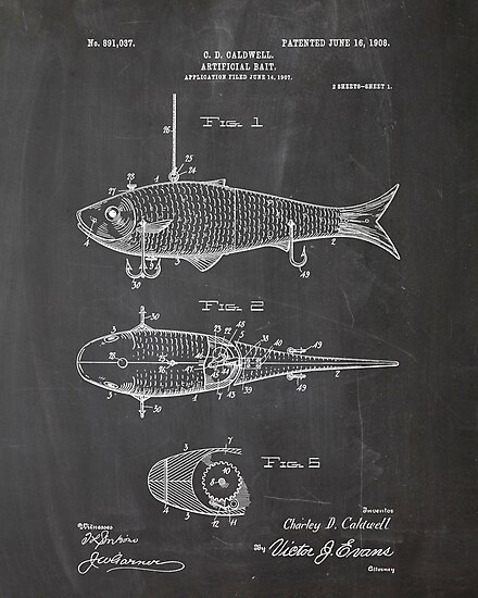 Fishing Patent Poster by Igor Drondin