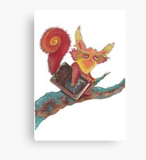 Squirrel with magic book Canvas Print