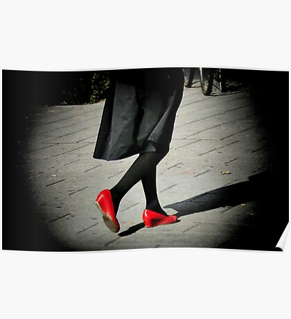Lady In Red Shoes Poster