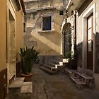 Shabby Chic - Cool Shadows Highlight Crumbling Stucco in a Tiny Italian Lane  by Georgia Mizuleva