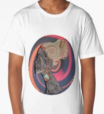 African Craft of Woman Profile on Bark Long T-Shirt