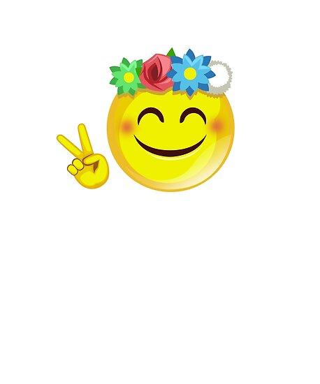 Hippie Flower Power Emoji Emoticon Peace Sign Posters By Myshirthub