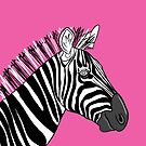 Pink Zebra Portrait by Adam Regester