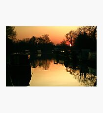 Sunset Over Willington Moorings Photographic Print