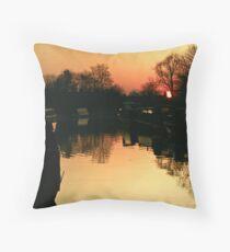 Sunset Over Willington Moorings Throw Pillow