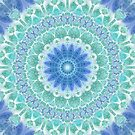 Blue and Turquoise Mandala by Kelly Dietrich