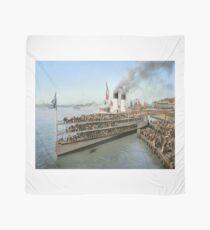 Sidewheeler Tashmoo leaving wharf in Detroit, ca 1901 Colorized Scarf