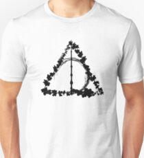 HP Hallows - flowers silhouettes spring (black) - wand, cloak, stone Unisex T-Shirt