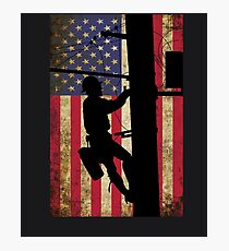 American Power Lineman Electrician Repairman Photographic Print