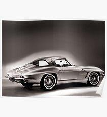 1963 Chevrolet Corvette Split Window Coupe B&W  Poster