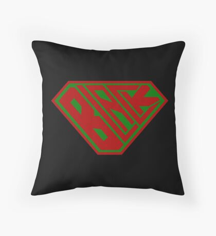 Black SuperEmpowered (Red and Green) Throw Pillow