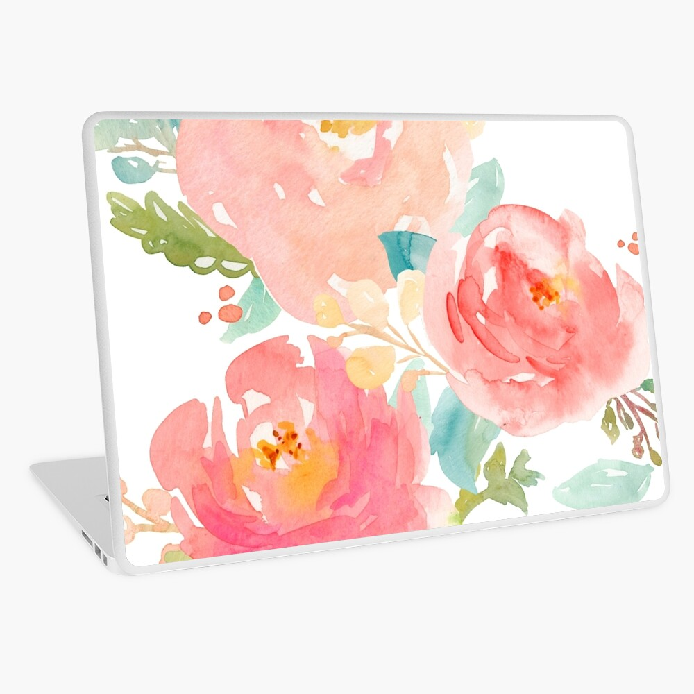 Peonies Watercolor Bouquet Laptop Skin