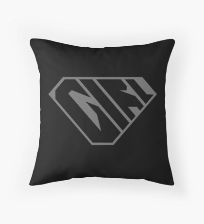 Girl SuperEmpowered (Black on Black) Throw Pillow