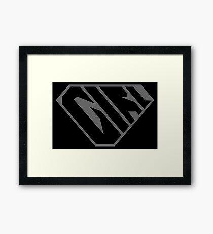 Girl SuperEmpowered (Black on Black) Framed Art Print