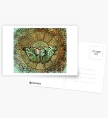 Steampunk Butterfly Distressed Postcards