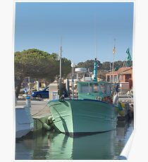 Green Fisher Boat Poster