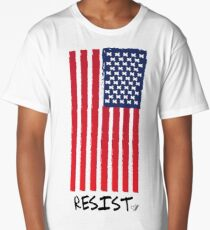 Resist (With Flag) -Graphic T-Shirt Long T-Shirt