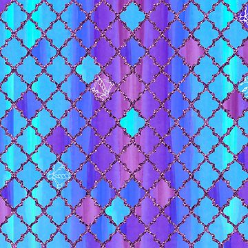 Moroccan Tile Pattern In Blue And Purple With Glitter by Wiezo