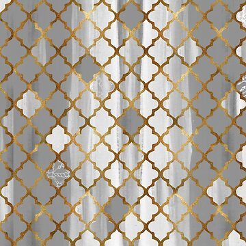 Moroccan Tile Pattern In Grey And Gold by Wiezo