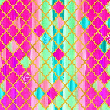 Moroccan Tile Pattern In Pink And Green by Wiezo