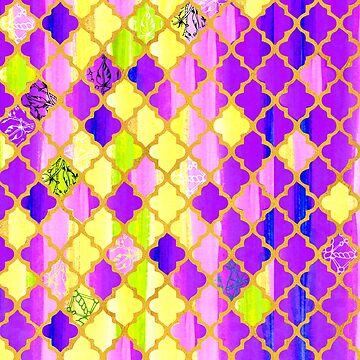 Moroccan Tile Pattern In Purple And Yellow by Wiezo