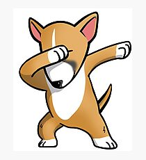 Funny Fawn English Bull Terrier Dabbing Photographic Print