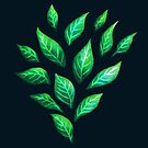 Dark Abstract Green Leaves by Boriana Giormova