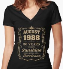 August 1988 Sunshine mixed Hurricane Women's Fitted V-Neck T-Shirt