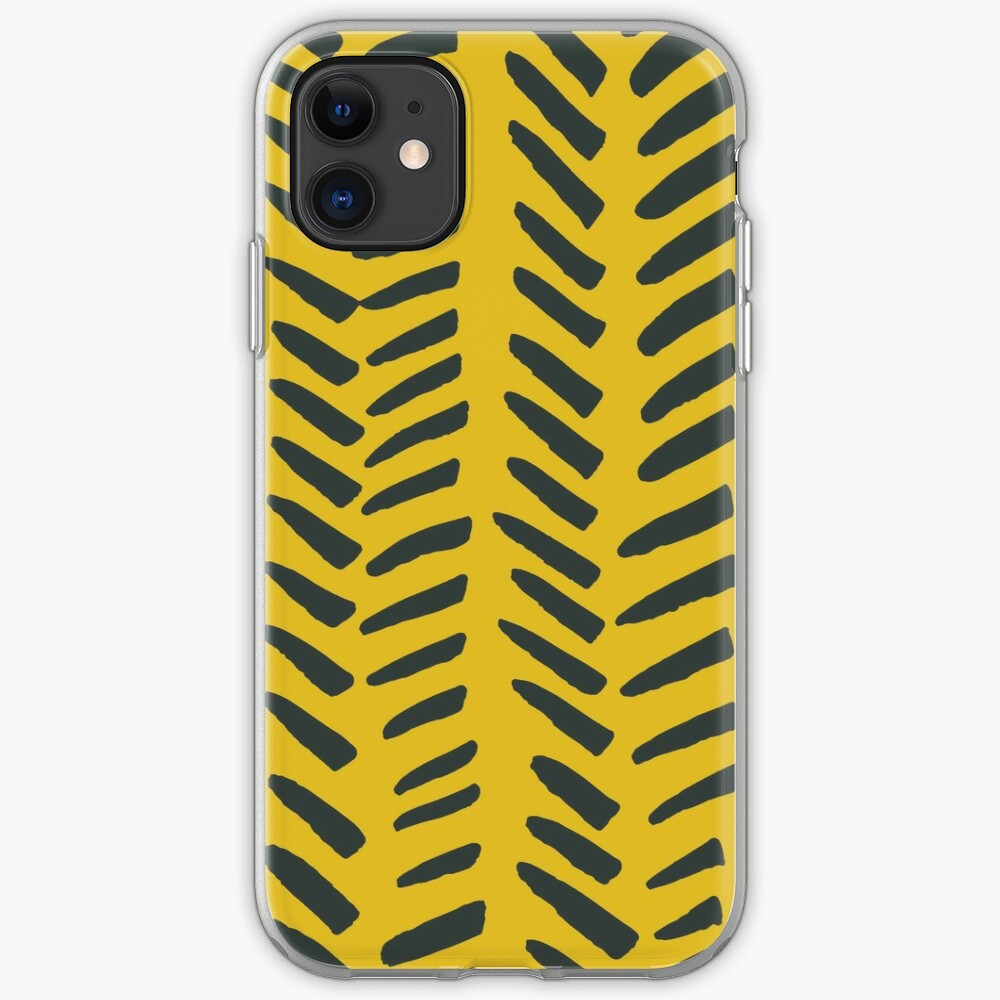 Handrawn Herringone - Charcoal on Mustard iPhone Soft Case