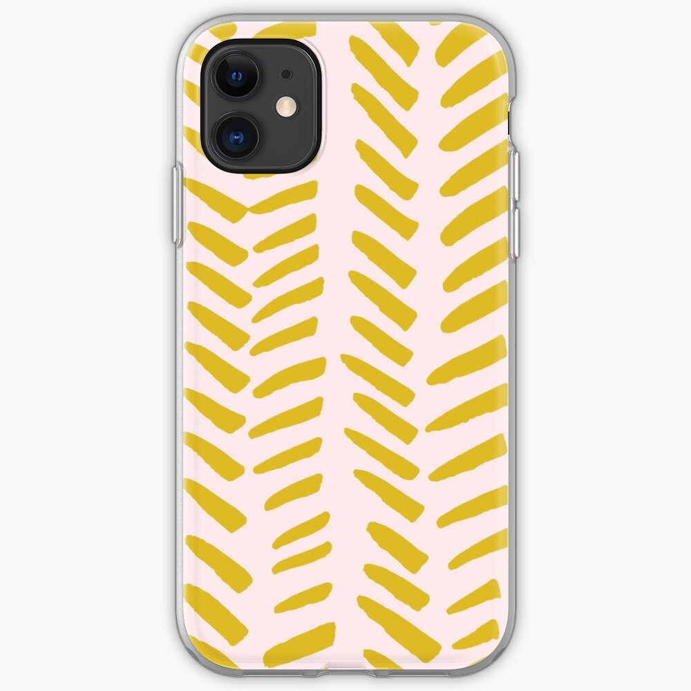 Mustard on Pink hand drawn herringbone iPhone Soft Case