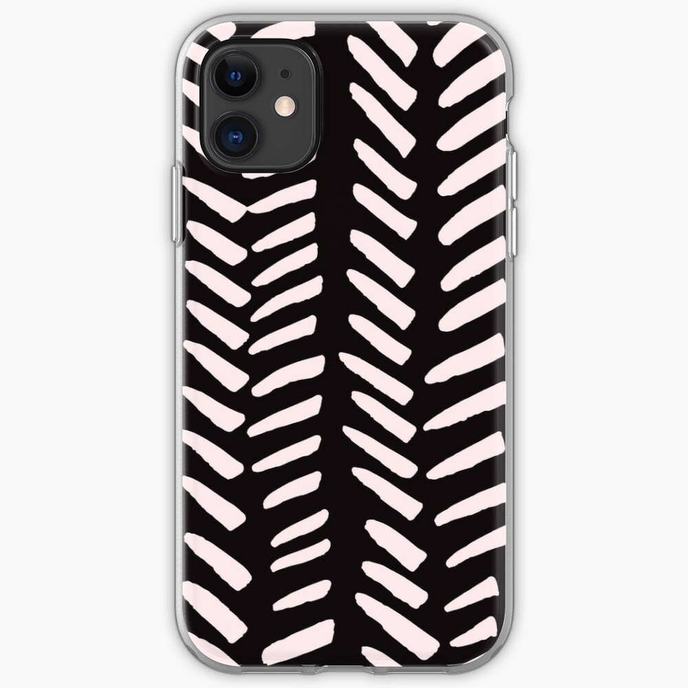 Pink on Charcoal hand drawn herringbeon iPhone Soft Case