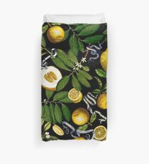 Lemon Tree - Black Duvet Cover