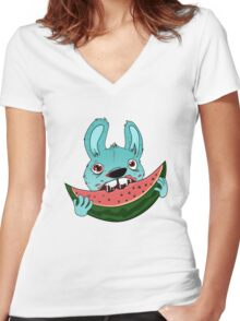 The watermelon Women's Fitted V-Neck T-Shirt