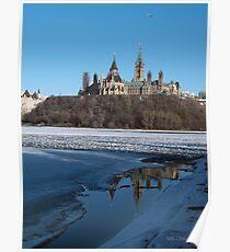 Canada Parliament Buildings Ottawa River Poster