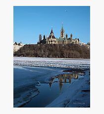Canada Parliament Buildings Ottawa River Photographic Print
