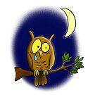 Sad melancholic owl cartoon design by FrogFactory