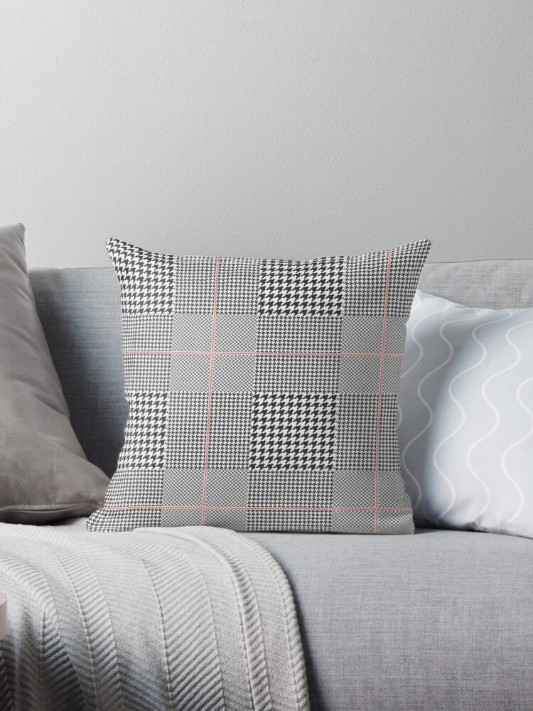 Glen Plaid In Black White And Red Throw Pillows By Anya D Redbubble