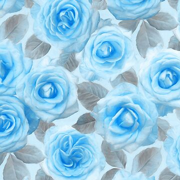 Painted Roses in Blue & Grey by micklyn