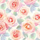 Faded Pink and Peach Painted Roses by micklyn
