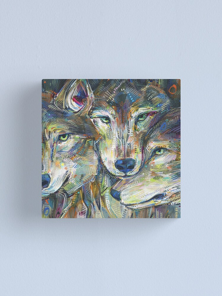 Alternate view of Gray wolves painting - 2012 Canvas Print