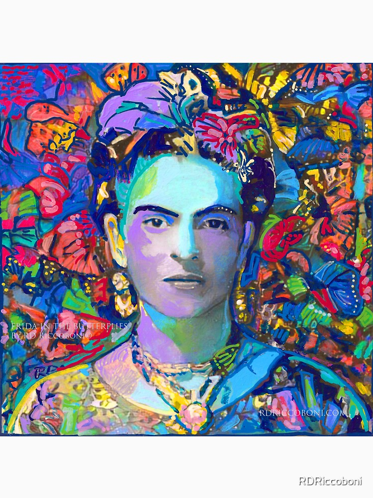 Frida In The Butterflies by RD Riccoboni - Red Frida by RDRiccoboni