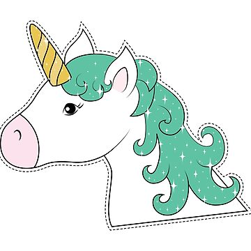 Sparkly White Unicorn - Patch Illustration by graphicloveshop
