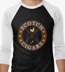 Scotch And Cigars Drinkers And Smokers Men's Baseball ¾ T-Shirt