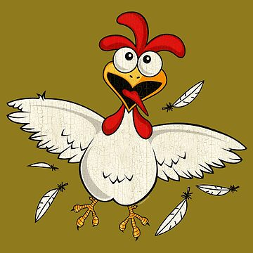 Funny Graphic Cartoon Chicken by superdazzle