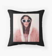 Girl with Cobain Sunglasses Throw Pillow