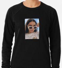 Girl with White Retro Sunglasses Lightweight Sweatshirt