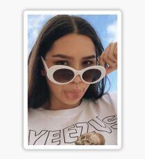 Girl with White Retro Sunglasses Sticker