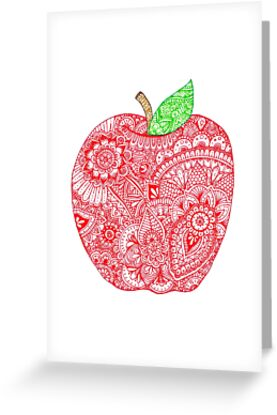 Zentangle apple greeting cards by marianna quezada redbubble zentangle apple by marianna quezada m4hsunfo