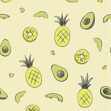 Pineapple and Avocado Pattern by christymcnutt