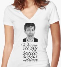 Wanna see my sonic screwdriver? Women's Fitted V-Neck T-Shirt
